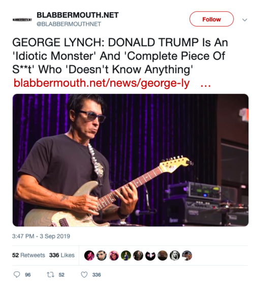 The tweet pictured drew a considerable response. It is a clickbait-style tweet using content taken from an interview I conducted with guitarist George Lynch.